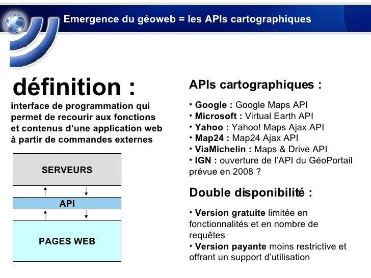 Emergence du géoweb = les APIs cartographiques interface de programmation qui permet de recourir aux fonctions et contenus...