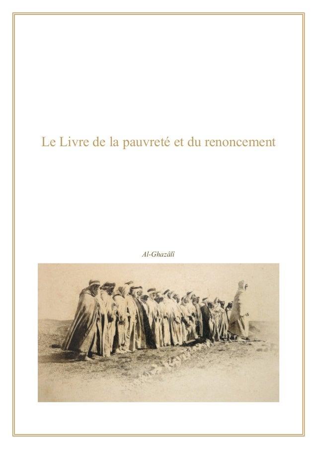 Le Livre de la pauvreté et du renoncement Al-Ghazâlî