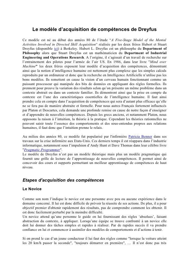 """Le modèle d'acquisition de compétences de Dreyfus Ce modèle est né au début des années 80 de l'étude """"A Five-Stage Model o..."""