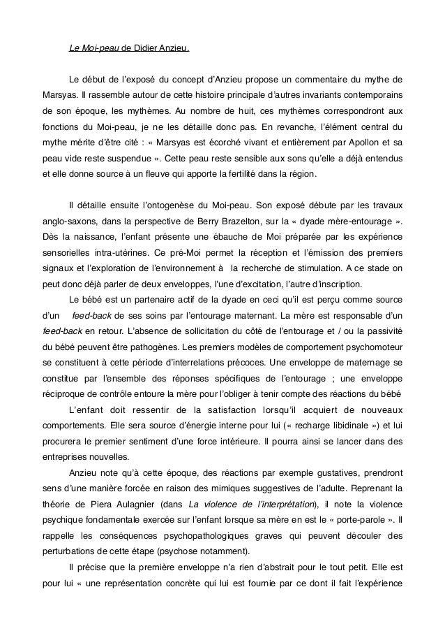 Le Moi-peau de Didier Anzieu.  Le début de l'exposé du concept d'Anzieu propose un commentaire du mythe de  Marsyas. Il ra...