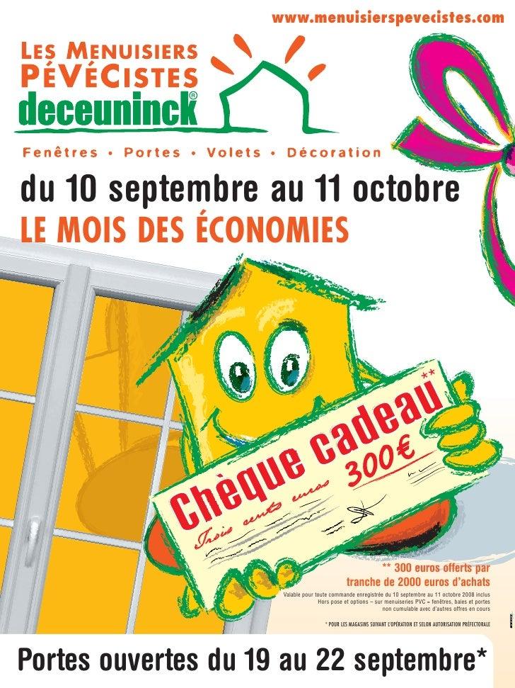www.menuisierspevecistes.com     du 10 septembre au 11 octobre LE MOIS DES ÉCONOMIES                                      ...
