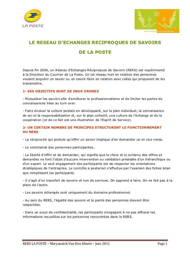 LE RESEAU D'ECHANGES RECIPROQUES DE SAVOIRS                                    DE LA POSTEDepuis fin 2006, un Réseau d'Ech...