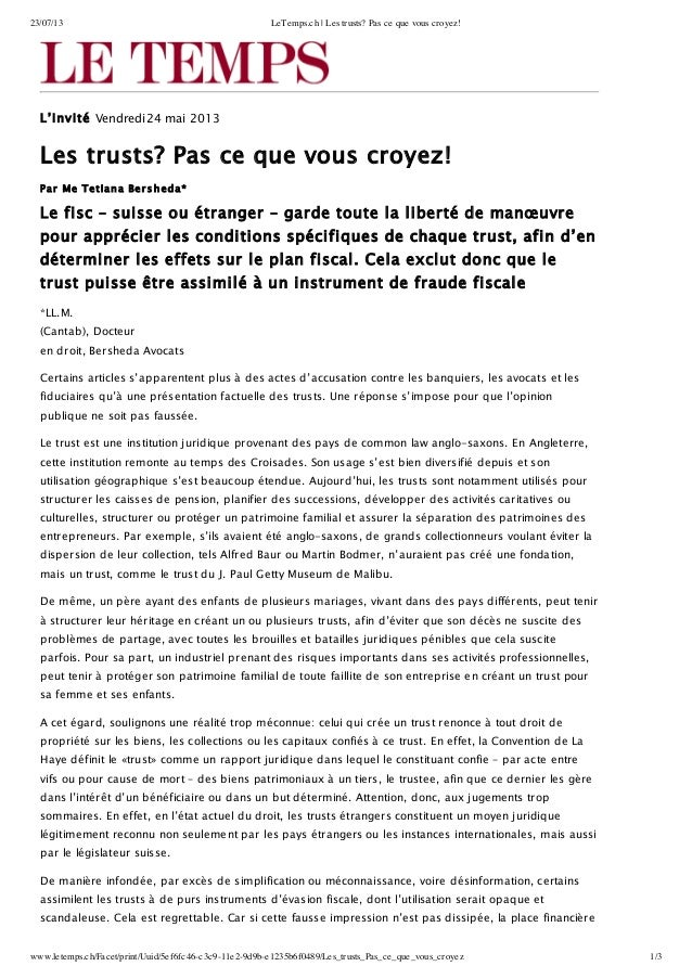 23/07/13 LeTemps.ch | Les trusts? Pas ce que vous croyez! www.letemps.ch/Facet/print/Uuid/5ef6fc46-c3c9-11e2-9d9b-e1235b6f...