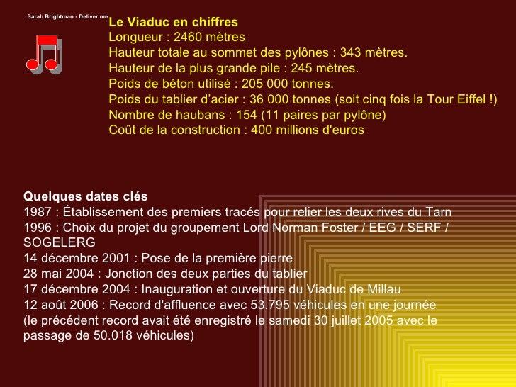 Sarah Brightman - Deliver me Le Viaduc en chiffres Longueur : 2460 mètres Hauteur totale au sommet des pylônes : 343 mètre...