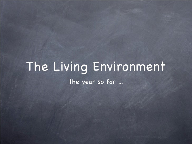 The Living Environment       the year so far ...