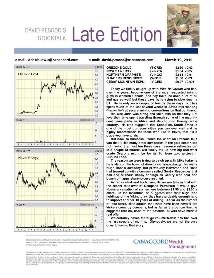 e-mail: debbie.lewis@canaccord.com   e-mail: david.pescod@canaccord.com               March 12, 2012                      ...