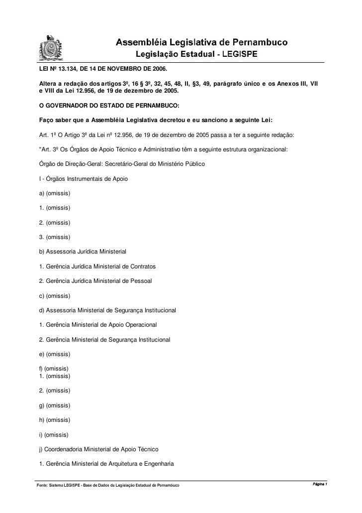 LEI Nº 13.134, DE 14 DE NOVEMBRO DE 2006.  Altera a redação dos artigos 3º, 16 § 3º, 32, 45, 48, II, §3, 49, parágrafo úni...