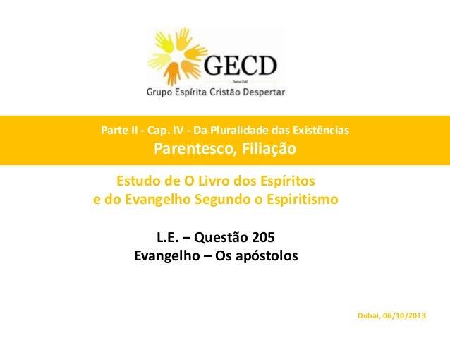 Estudo de O Livro dos Espíritos e do Evangelho Segundo o Espiritismo L.E. – Questão 205 Evangelho – Os apóstolos Dubai, 06...