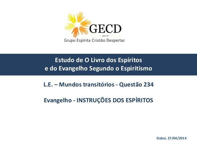Dubai, 27/04/2014 Estudo de O Livro dos Espíritos e do Evangelho Segundo o Espiritismo L.E. – Mundos transitórios - Questã...