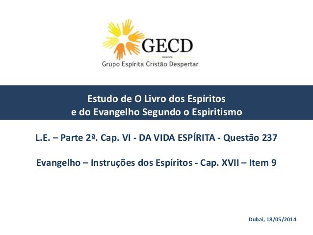 Dubai, 18/05/2014 Estudo de O Livro dos Espíritos e do Evangelho Segundo o Espiritismo L.E. – Parte 2ª. Cap. VI - DA VIDA ...
