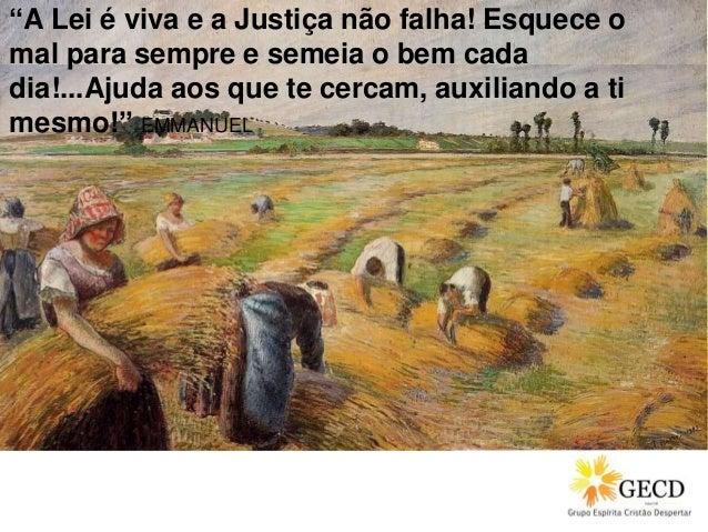 """""""A Lei é viva e a Justiça não falha! Esquece o mal para sempre e semeia o bem cada dia!...Ajuda aos que te cercam, auxilia..."""
