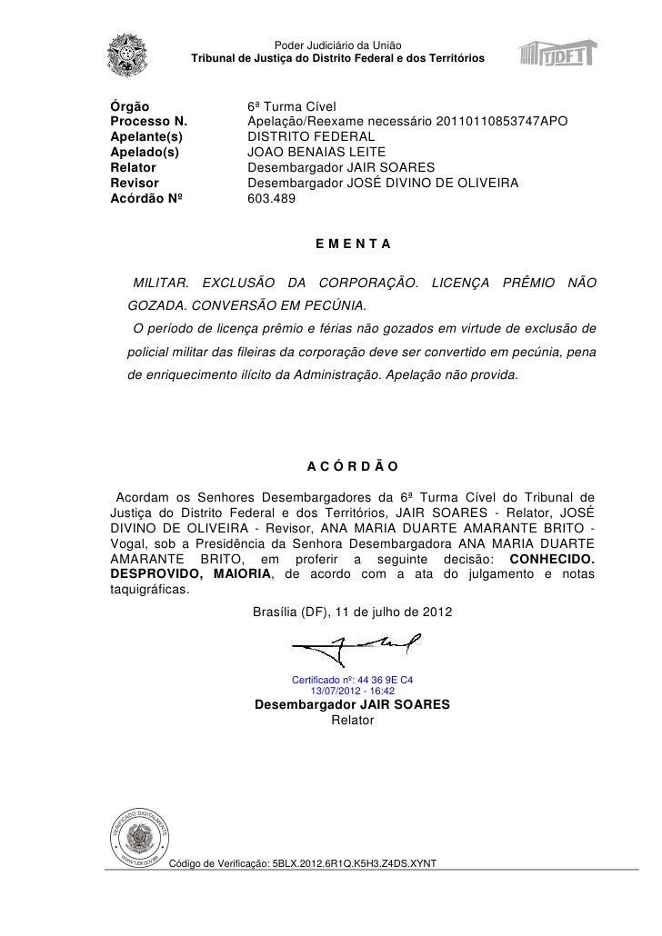 Poder Judiciário da União              Tribunal de Justiça do Distrito Federal e dos TerritóriosÓrgão                   6ª...