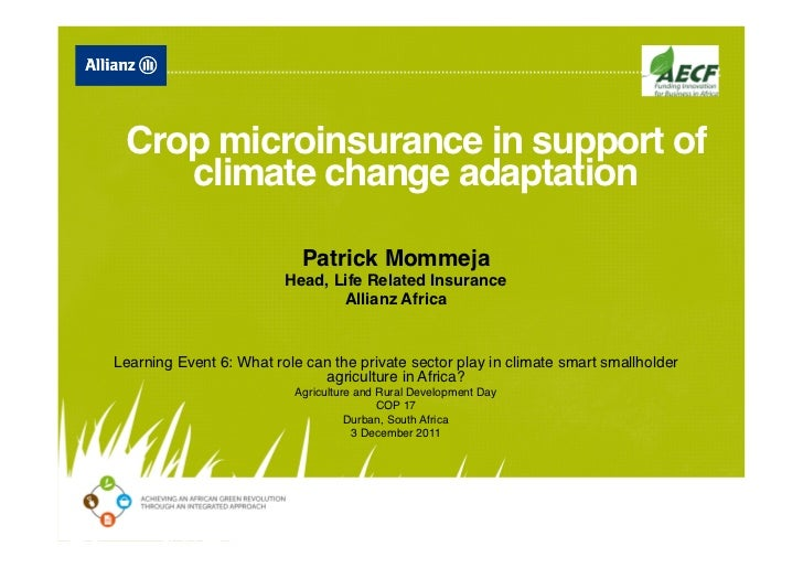 Crop microinsurance in support of    climate change adaptation                                                         ...