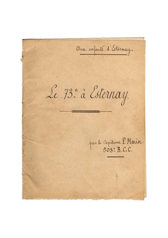 Le 73e Régiment d'Infanterie à Esternay - Août et septembre 1914
