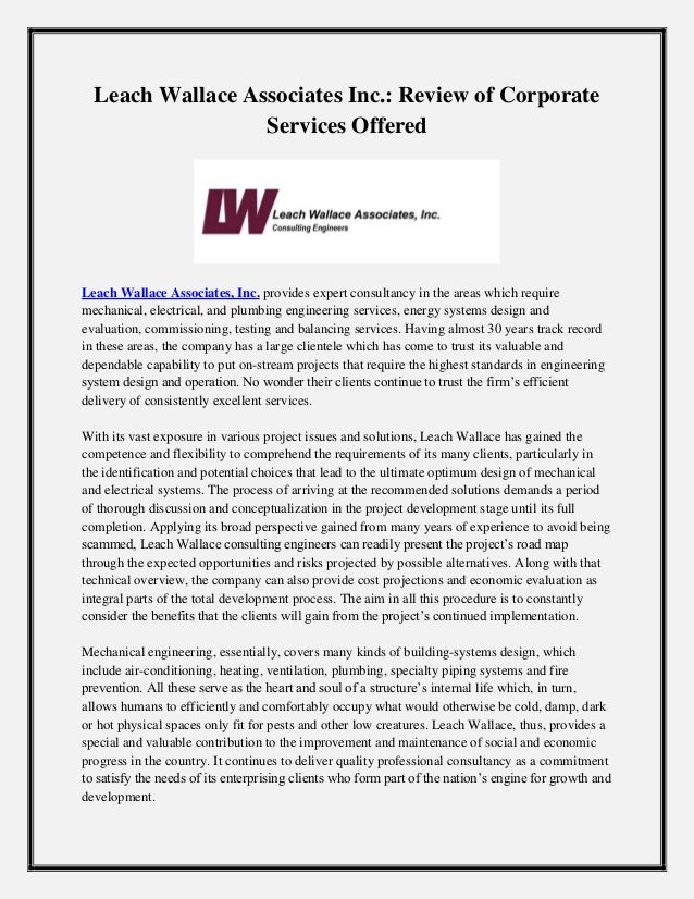 Leach Wallace Associates Inc.: Review of Corporate Services Offered Leach Wallace Associates, Inc. provides expert consult...