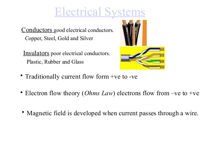 Electrical Systems Conductors good electrical conductors. Copper, Steel, Gold and Silver  Insulators poor electrical condu...
