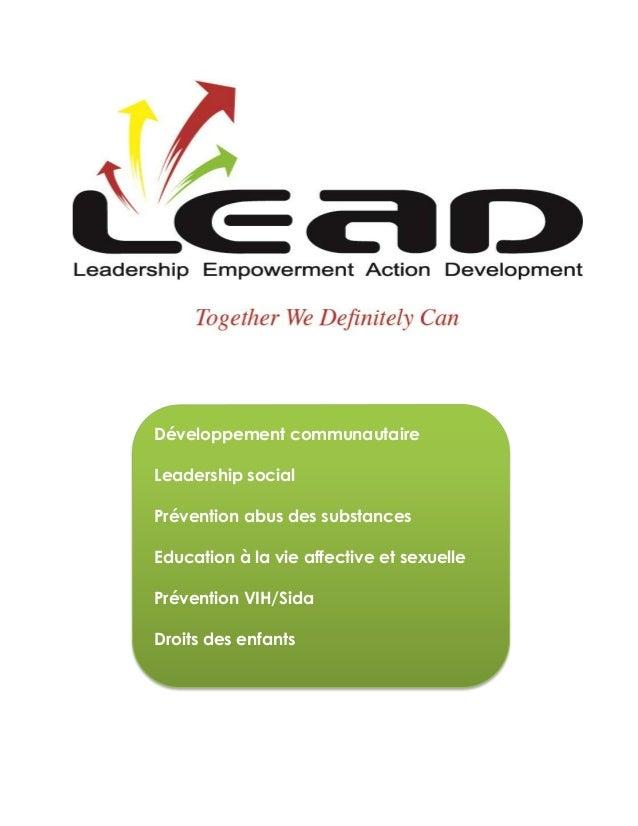 Développement communautaireLeadership socialPrévention abus des substancesEducation à la vie affective et sexuellePréventi...