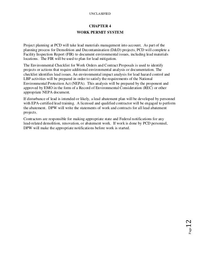 Lead Asbestos Mgmt Plan Ems Manual