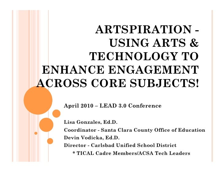 ARTSPIRATION -           USING ARTS &        TECHNOLOGY TO  ENHANCE ENGAGEMENT ACROSS CORE SUBJECTS!    April 2010 – LEAD ...