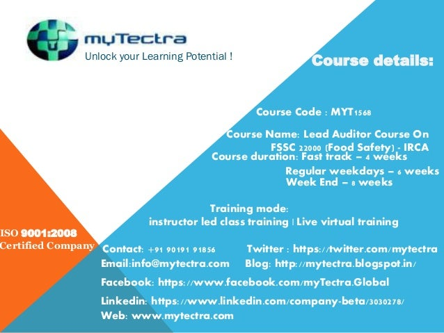 Unlock your Learning Potential ! ISO 9001:2008 Certified Company Course details: Course Code : MYT1568 Course Name: Lead A...