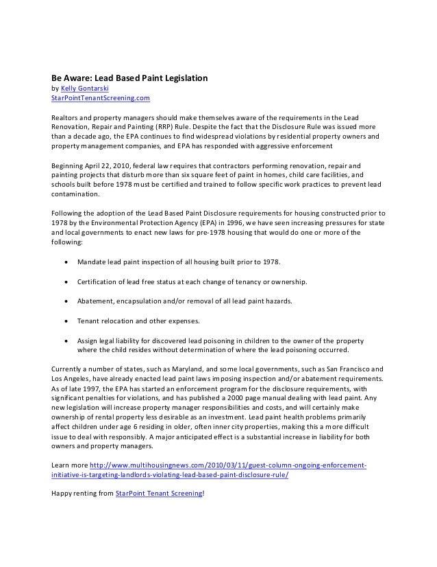 Lead Based Paint Legislation