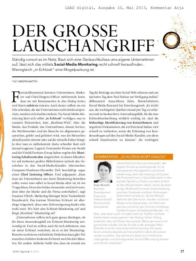 LEAD digital, Ausgabe 10, Mai 2013, Kommentar Anja  DER GROSSE LAUSCHANGRIFF Ständig rumort es im Netz. Baut sich eine Ger...