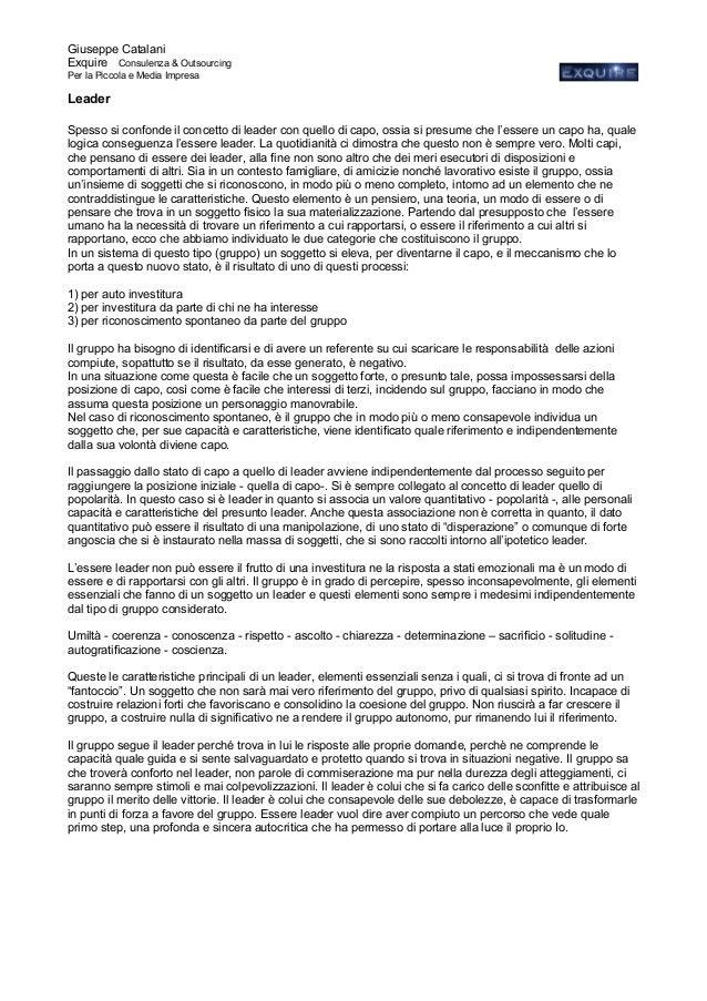Giuseppe Catalani Exquire Consulenza & Outsourcing Per la Piccola e Media Impresa Leader Spesso si confonde il concetto di...