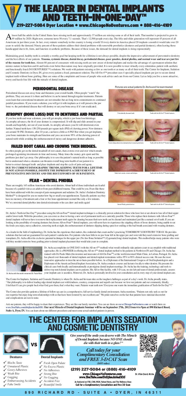 The Leader in Dental Implants                           and Teeth-In-One-Day TM             219-227-5084 Dyer Location • w...