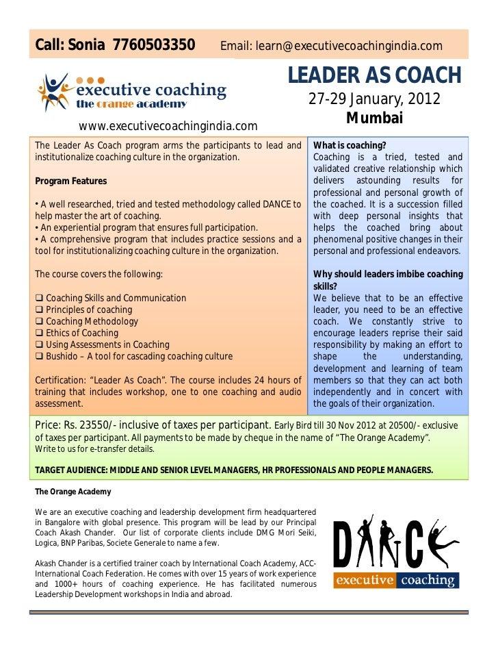 Leader As Coach Certification Mumbai