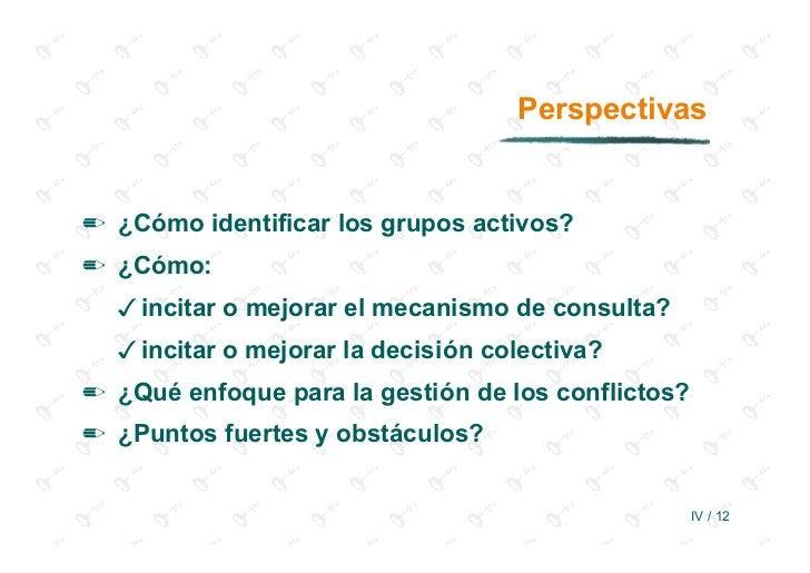 Perspectivas✏ ¿Cómo identificar los grupos activos?✏ ¿Cómo:  incitar o mejorar el mecanismo de consulta?  incitar o mejora...