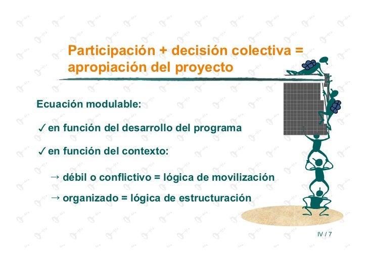Participación + decisión colectiva =     apropiación del proyectoEcuación modulable:en función del desarrollo del programa...