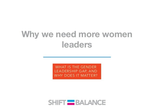 Why we need more women leaders Women are much less likely than men to be considered leaders. In 2015, only 5 percent of th...