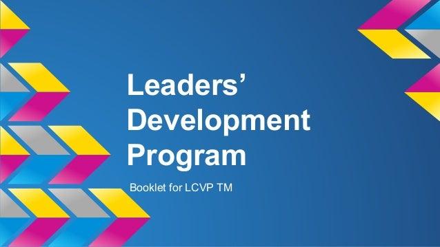 Leaders' Development Program Booklet for LCVP TM