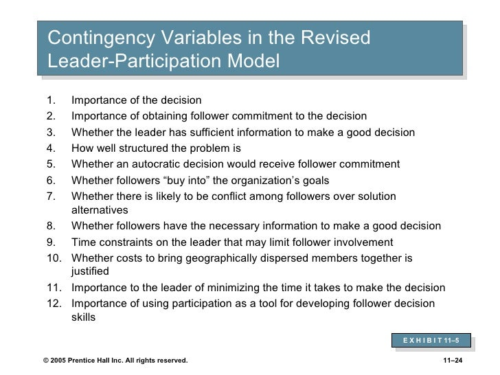vroom jago contingency model Decision making: the vroom-yetton-jago models in g r goethalsg j  actor network theory  situational and contingency approaches to leadership.