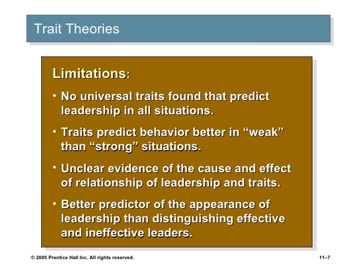 limitations of trait theory Limitations of the trait theory • simplistic/limited view of personality • failed to recognize individuals are actively involved in subjectively constructing their own personalities • failed.