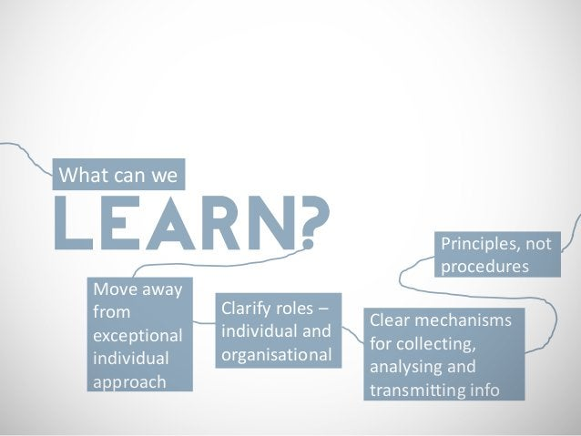 What can weLEARN?                                     Principles, not                                           procedures...