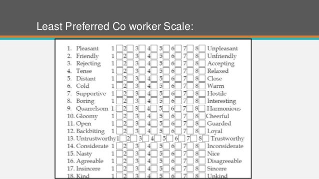 least preferred co worker Two studies were conducted, using 131 business administration majors (53 males and 78 females), to examine the psychological midpoints of the 18 bipolar adjective pairs of fiedler's least preferred coworker (lpc) instrument.