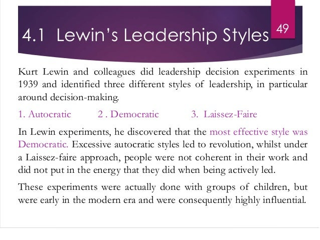 kurt lewin leadership styles book