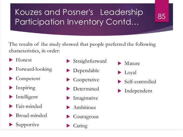 kouzes posner model Analyse this using kouzes and posner's practices in order to enhance my leadership  kouzes and posner (2012) articulate a model for.