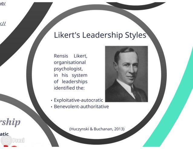 likert four styles of leadership Unit 6 leadership  gender differences in leadership style a common   leadership, likert (1967) developed the 'four systems' typology of leadership style.