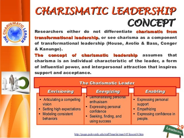 characteristic of charismatic leadership In this paper we review prior theory and empirical evidence relevant to the personality characteristics that differentiate charismatic leaders from noncharismatic leaders.