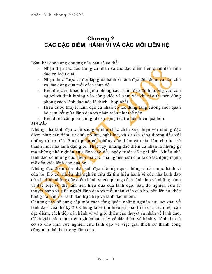 """Khóa 31k thang 9/2008                        Chương 2       CÁC ĐẶC ĐIỂM, HÀNH VI VÀ CÁC MỖI LIÊN HỆ   """"Sau khi đọc xong c..."""