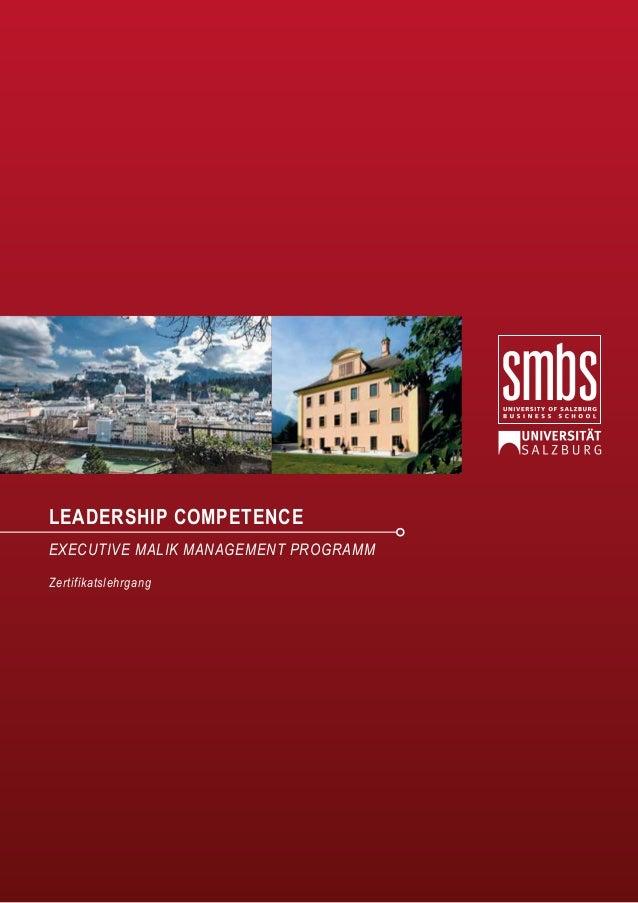 LEADERSHIP COMPETENCE EXECUTIVE MALIK MANAGEMENT PROGRAMM Zertifikatslehrgang