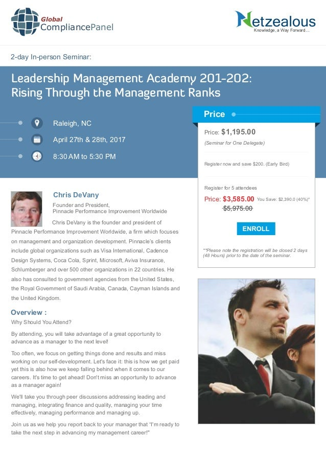 2-day In-person Seminar: Knowledge, a Way Forward… Leadership Management Academy 201-202: Rising Through the Management Ra...