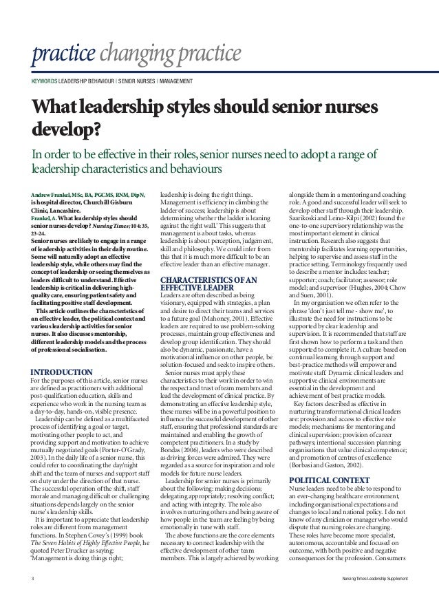 leadership skills for nurses  leadership supplement 3 practice
