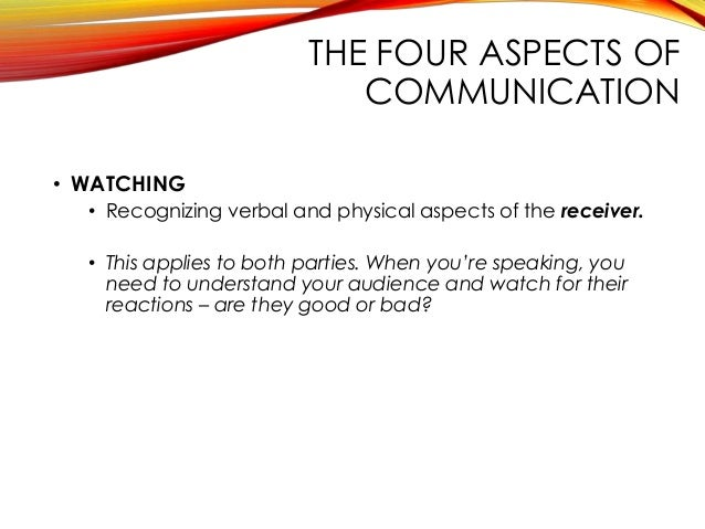 aspects of communication Communication process lesson 7 learning skills 81 objective: (to demonstrate the many problems of misunderstanding that can occur in a one-way communication.