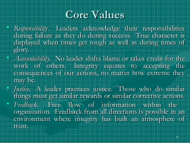 value of leadership Wwwethicalleadershiporg 3 ©2002 center for ethical leadership making sense of your core values you have just discovered, or re-discovered, your core values ethical leadership is knowing.