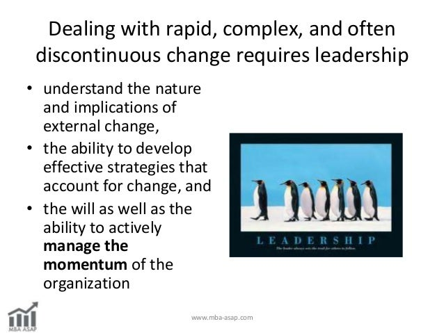 mba leadership strategies for a changing Ldr 5220 leading organizational change  impact of strategic intent, culture,  and leadership behaviors on.
