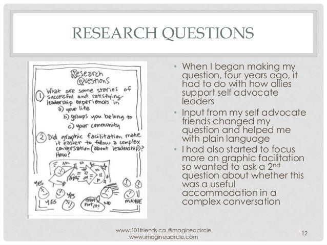 RESEARCH QUESTIONS • When I began making my question, four years ago, it had to do with how allies support self advocate l...