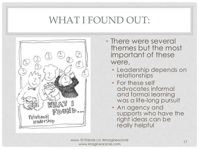 WHAT I FOUND OUT: • There were several themes but the most important of these were,  • Leadership depends on relationships...